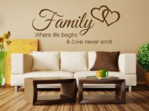 Family Wall Quote Where life begins Vinyl Sticker Wall Art Home Mural Decal